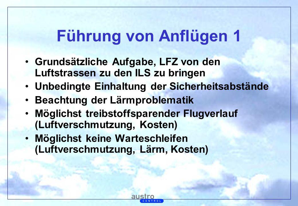 Abt. Generalsekretariat Führung von Anflügen 1 Grundsätzliche Aufgabe, LFZ von den Luftstrassen zu den ILS zu bringen Unbedingte Einhaltung der Sicher