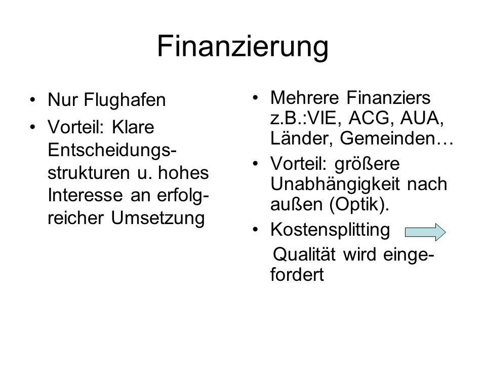 Finanzierung Nur Flughafen Vorteil: Klare Entscheidungs- strukturen u.