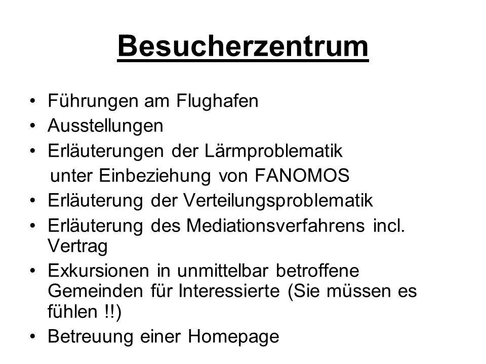 Besucherzentrum Führungen am Flughafen Ausstellungen Erläuterungen der Lärmproblematik unter Einbeziehung von FANOMOS Erläuterung der Verteilungsproblematik Erläuterung des Mediationsverfahrens incl.