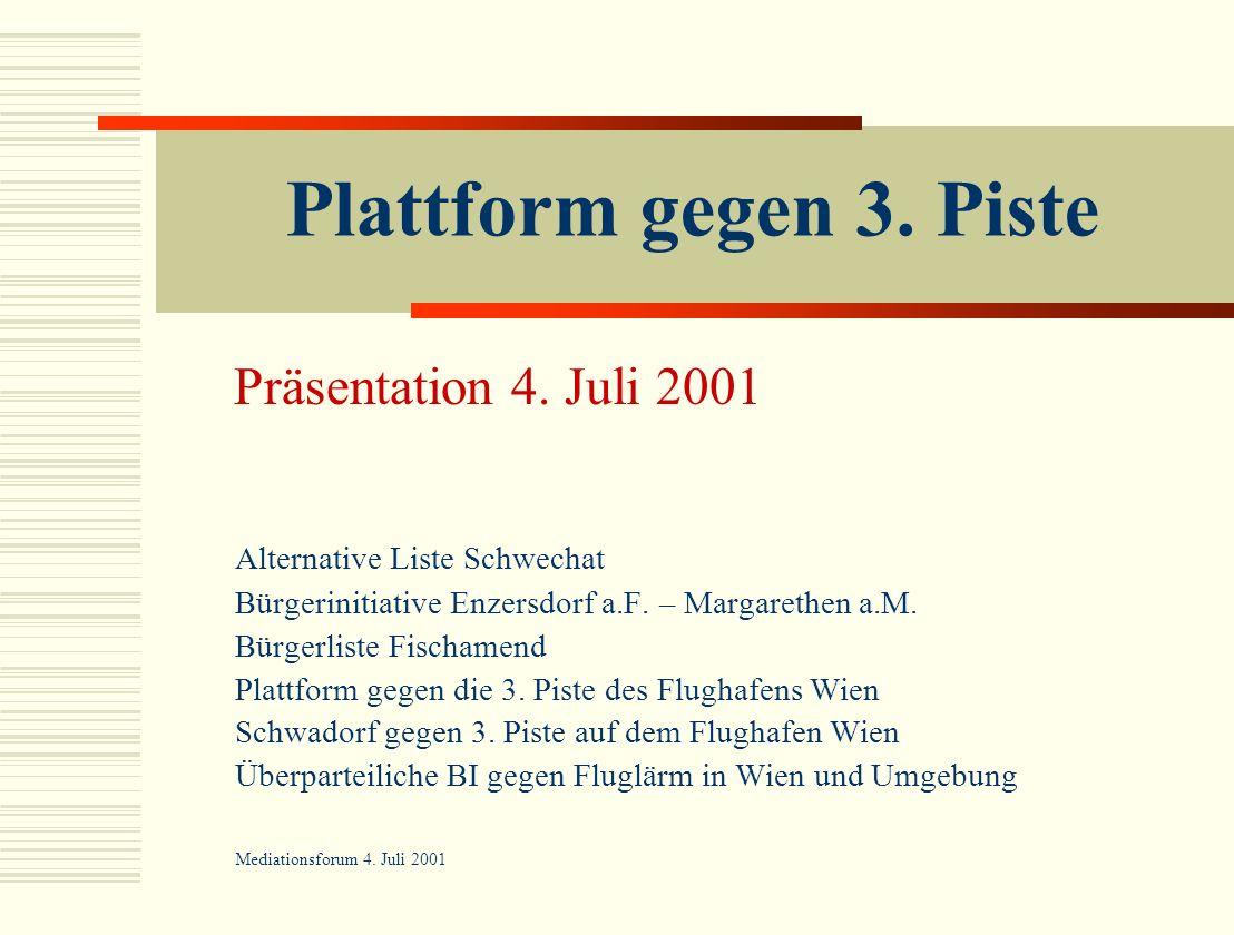 Plattform gegen 3. Piste Alternative Liste Schwechat Bürgerinitiative Enzersdorf a.F. – Margarethen a.M. Bürgerliste Fischamend Plattform gegen die 3.