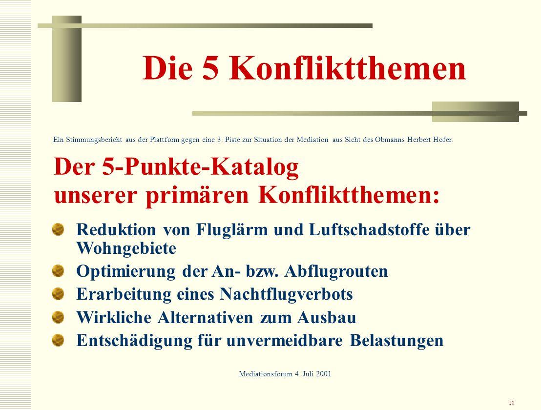 10 Die 5 Konfliktthemen Ein Stimmungsbericht aus der Plattform gegen eine 3. Piste zur Situation der Mediation aus Sicht des Obmanns Herbert Hofer. De