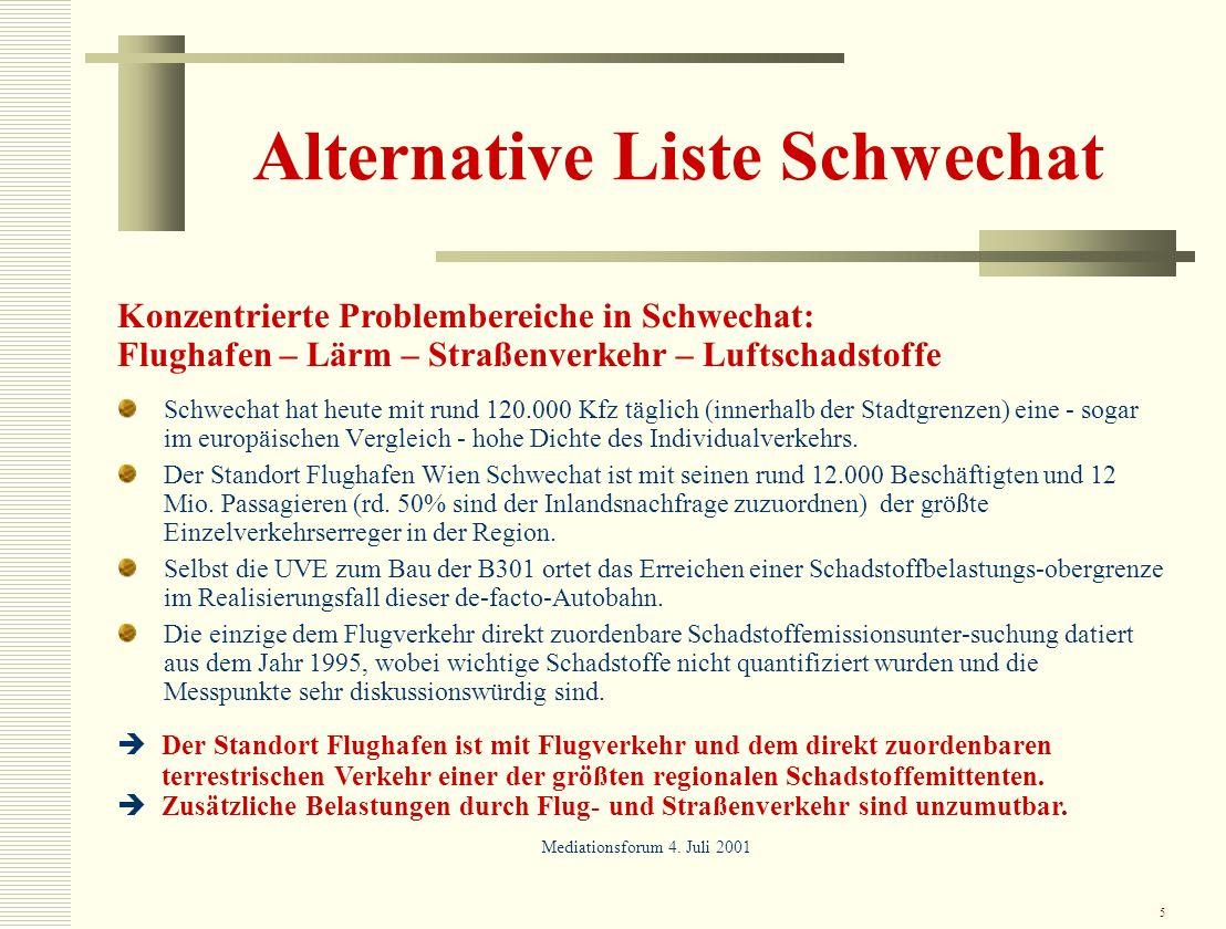 5 Alternative Liste Schwechat Schwechat hat heute mit rund 120.000 Kfz täglich (innerhalb der Stadtgrenzen) eine - sogar im europäischen Vergleich - h