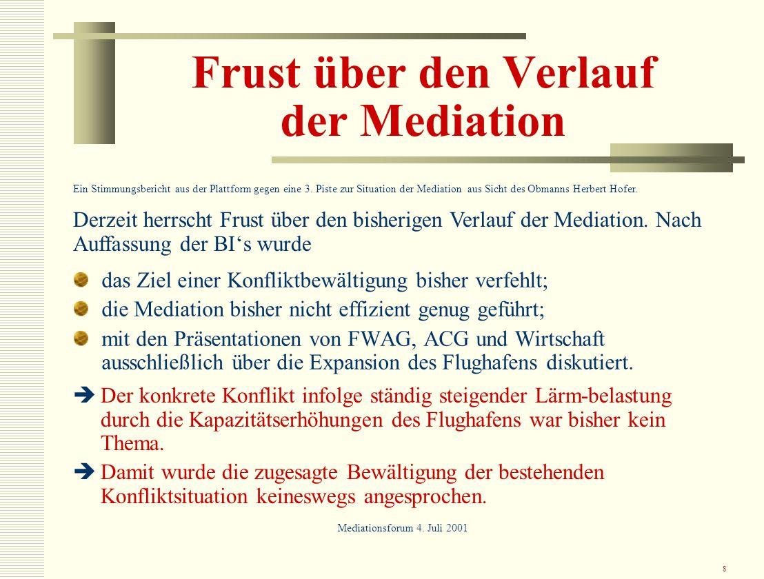 8 Frust über den Verlauf der Mediation das Ziel einer Konfliktbewältigung bisher verfehlt; die Mediation bisher nicht effizient genug geführt; mit den