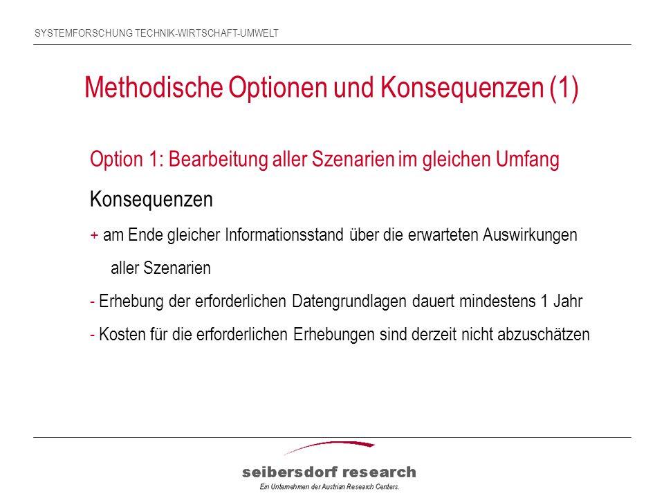 SYSTEMFORSCHUNG TECHNIK-WIRTSCHAFT-UMWELT Methodische Optionen und Konsequenzen (1) Option 1: Bearbeitung aller Szenarien im gleichen Umfang Konsequenzen + am Ende gleicher Informationsstand über die erwarteten Auswirkungen aller Szenarien - Erhebung der erforderlichen Datengrundlagen dauert mindestens 1 Jahr - Kosten für die erforderlichen Erhebungen sind derzeit nicht abzuschätzen