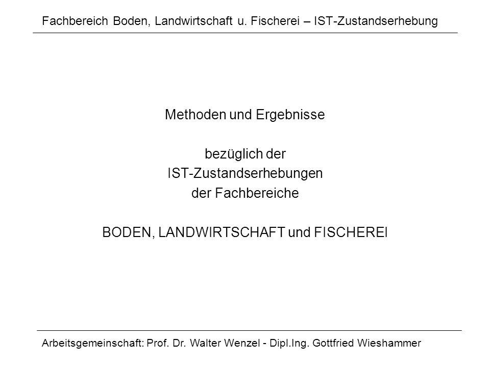 Fachbereich Boden, Landwirtschaft u. Fischerei – IST-Zustandserhebung Methoden und Ergebnisse bezüglich der IST-Zustandserhebungen der Fachbereiche BO