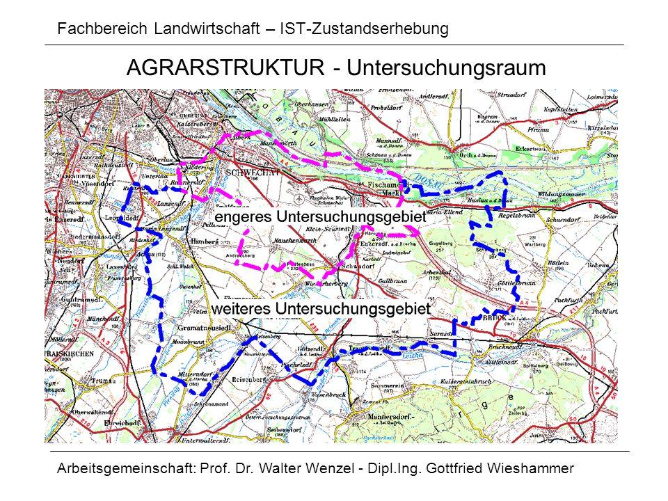 Fachbereich Landwirtschaft – IST-Zustandserhebung Arbeitsgemeinschaft: Prof. Dr. Walter Wenzel - Dipl.Ing. Gottfried Wieshammer AGRARSTRUKTUR - Unters
