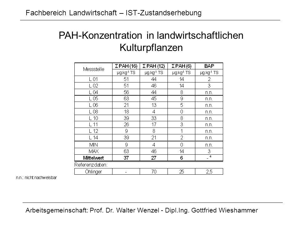 Fachbereich Landwirtschaft – IST-Zustandserhebung Arbeitsgemeinschaft: Prof. Dr. Walter Wenzel - Dipl.Ing. Gottfried Wieshammer PAH-Konzentration in l