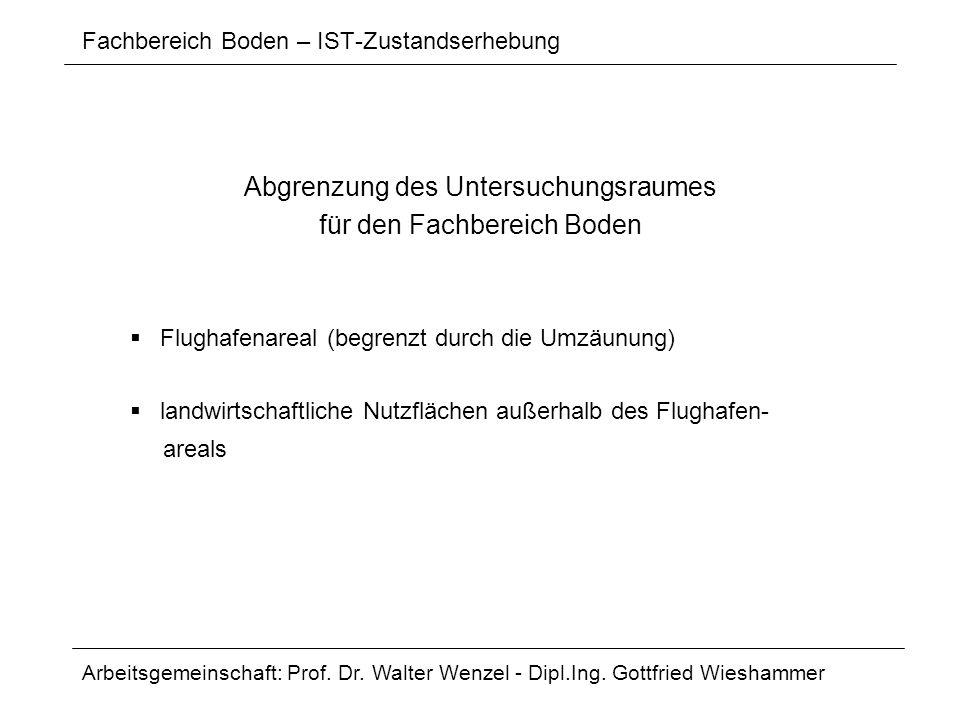Fachbereich Boden – IST-Zustandserhebung Abgrenzung des Untersuchungsraumes für den Fachbereich Boden Flughafenareal (begrenzt durch die Umzäunung) la
