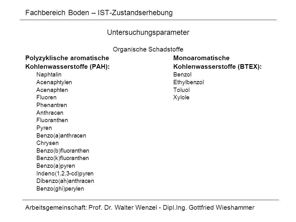 Fachbereich Boden – IST-Zustandserhebung Untersuchungsparameter Organische Schadstoffe Polyzyklische aromatischeMonoaromatische Kohlenwasserstoffe (PA