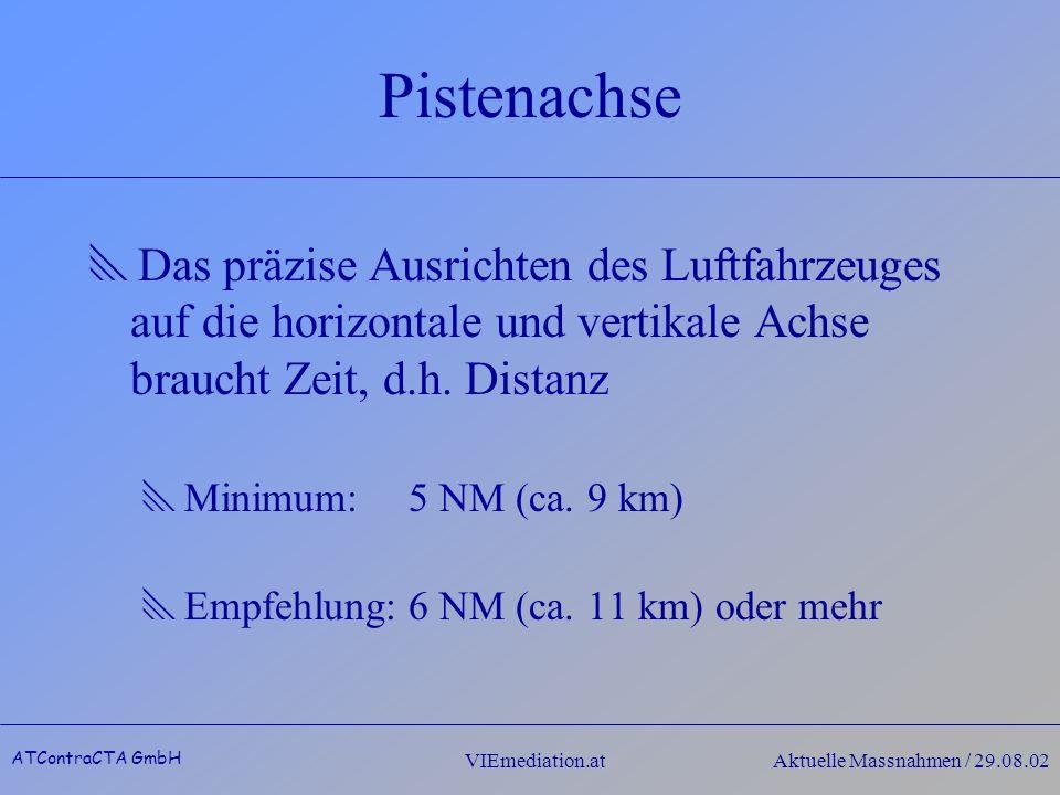 ATContraCTA GmbH VIEmediation.atAktuelle Massnahmen / 29.08.02 Pistenachse Das präzise Ausrichten des Luftfahrzeuges auf die horizontale und vertikale Achse braucht Zeit, d.h.
