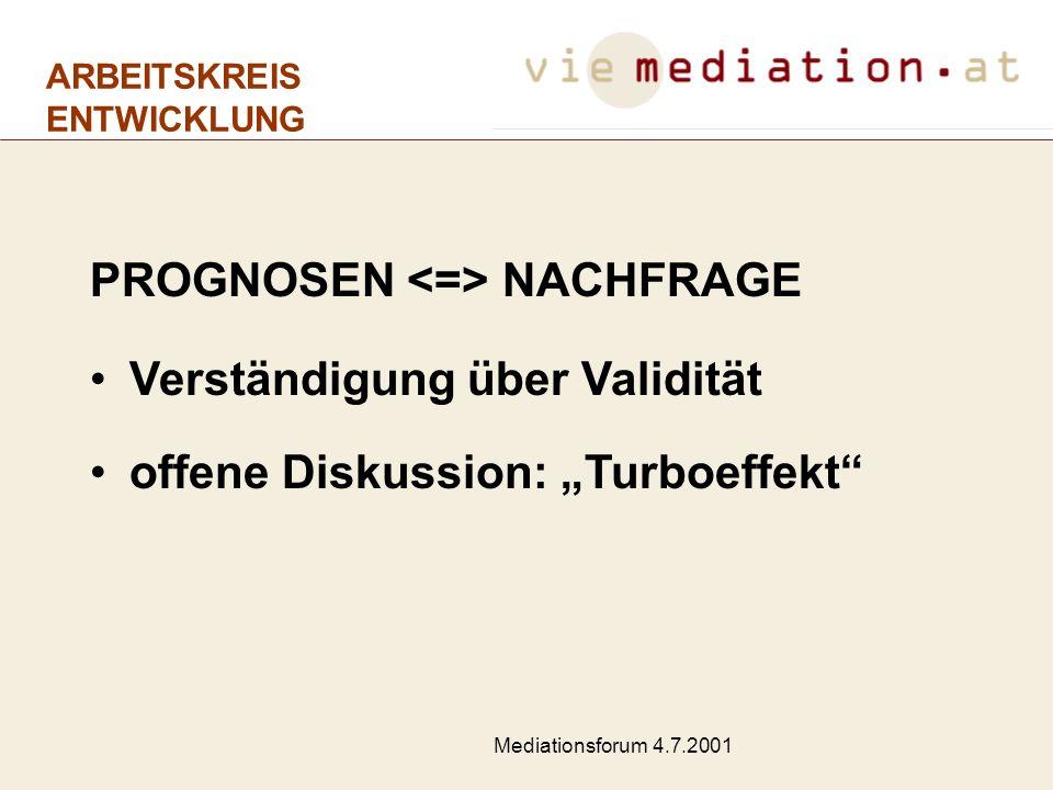 Mediationsforum 4.7.2001 Erläuterungen zur Verkehrsprognose VIE ÖKONOMETRISCHES MODELL Die Prognosen bilden die Nachfrage ab Passagiermatrix u.a.