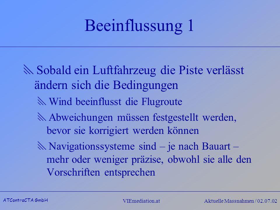 VIEmediation.atAktuelle Massnahmen / 02.07.02 Beeinflussung 1 Sobald ein Luftfahrzeug die Piste verlässt ändern sich die Bedingungen Wind beeinflusst