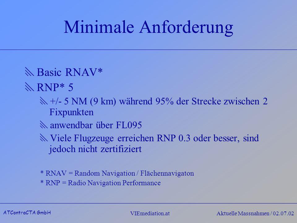 ATContraCTA GmbH VIEmediation.atAktuelle Massnahmen / 02.07.02 Minimale Anforderung Basic RNAV* RNP* 5 +/- 5 NM (9 km) während 95% der Strecke zwischen 2 Fixpunkten anwendbar über FL095 Viele Flugzeuge erreichen RNP 0.3 oder besser, sind jedoch nicht zertifiziert * RNAV = Random Navigation / Flächennavigaton * RNP = Radio Navigation Performance