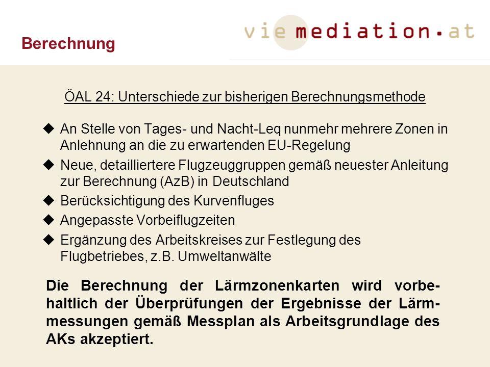 ÖAL 24: Unterschiede zur bisherigen Berechnungsmethode An Stelle von Tages- und Nacht-Leq nunmehr mehrere Zonen in Anlehnung an die zu erwartenden EU-