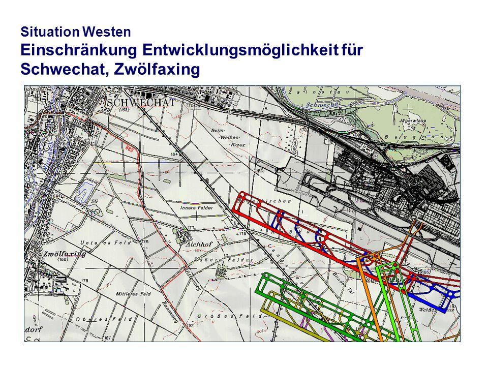Situation Westen Einschränkung Entwicklungsmöglichkeit für Schwechat, Zwölfaxing