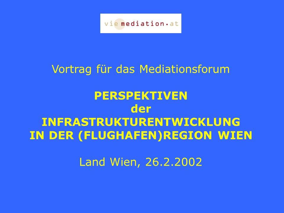Vortrag für das Mediationsforum PERSPEKTIVEN der INFRASTRUKTURENTWICKLUNG IN DER (FLUGHAFEN)REGION WIEN Land Wien, 26.2.2002