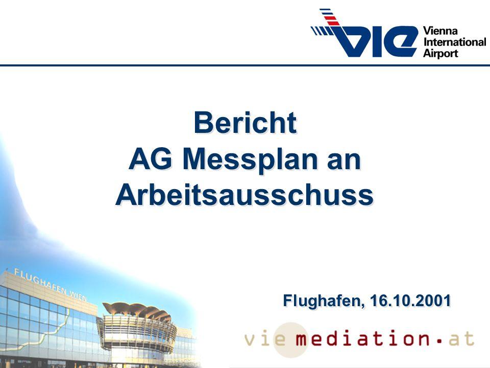 AG Messplan AG Messplan: FWAG, Bgm, BI´s, UA Messplan wird am 12.6.2001 von AK Lärm genehmigt Ziele: - Vertikale Evaluierung: Welche Unterschiede gibt es zwischen den Messergebnissen auf der Höhe der Messstation und auf der Höhe des menschlichen Ohrs.