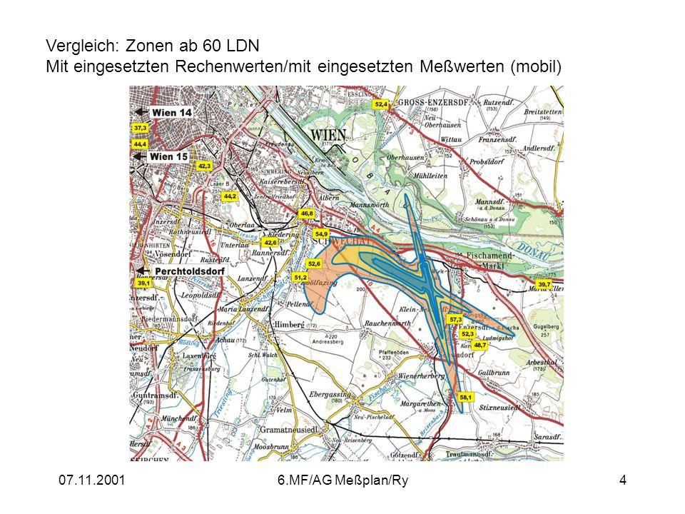 07.11.20016.MF/AG Meßplan/Ry4 Vergleich: Zonen ab 60 LDN Mit eingesetzten Rechenwerten/mit eingesetzten Meßwerten (mobil)
