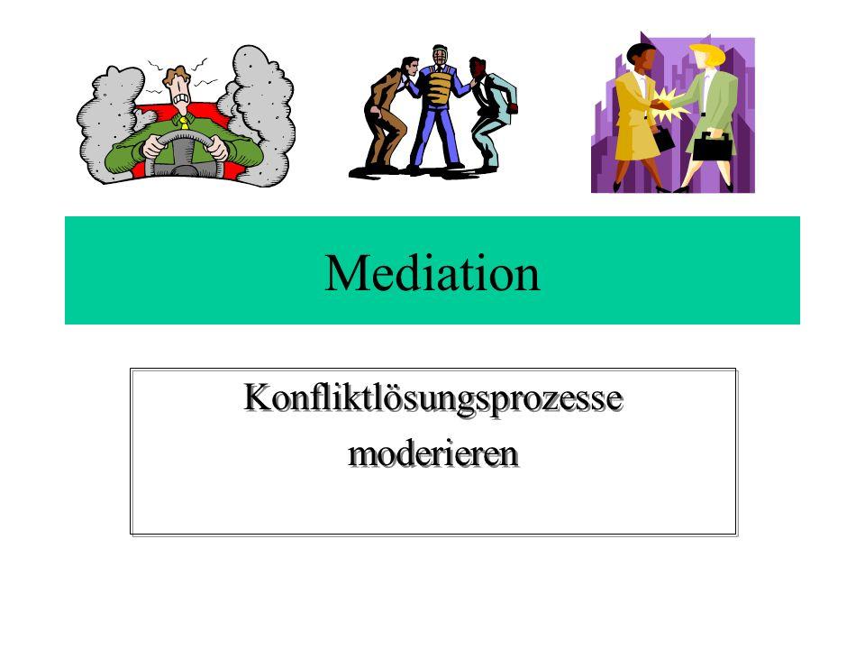 Mediation Konfliktlösungsprozesse moderieren Konfliktlösungsprozesse moderieren