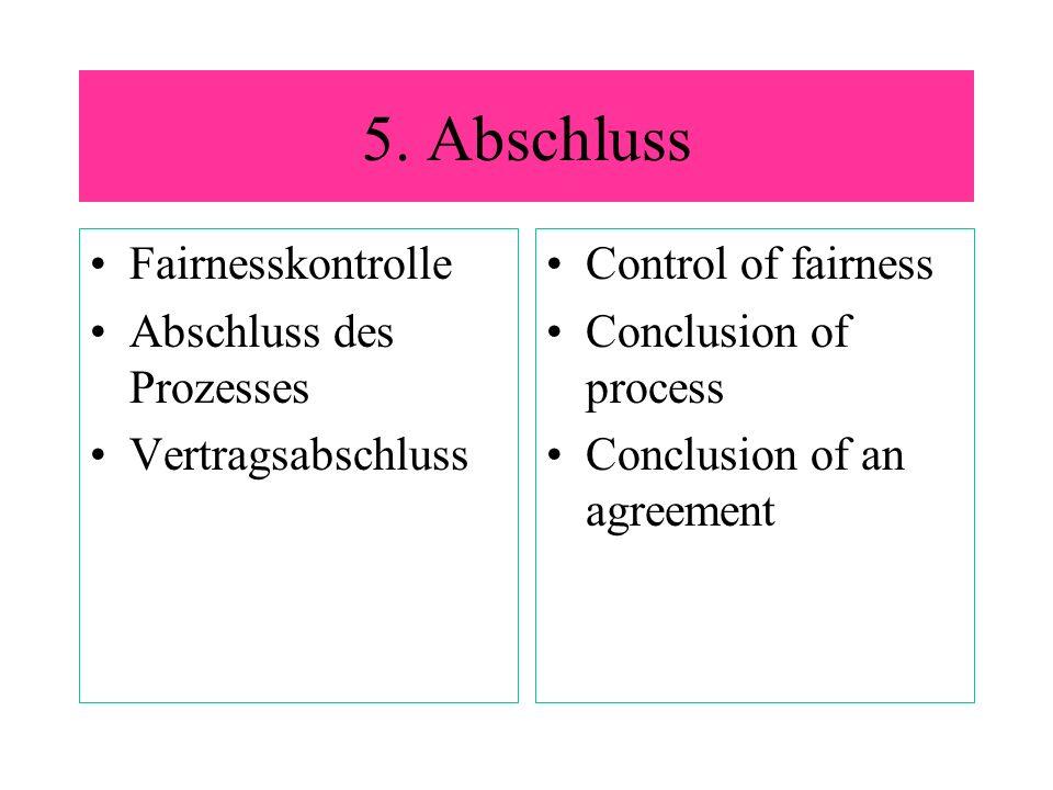 5. Abschluss Fairnesskontrolle Abschluss des Prozesses Vertragsabschluss Control of fairness Conclusion of process Conclusion of an agreement