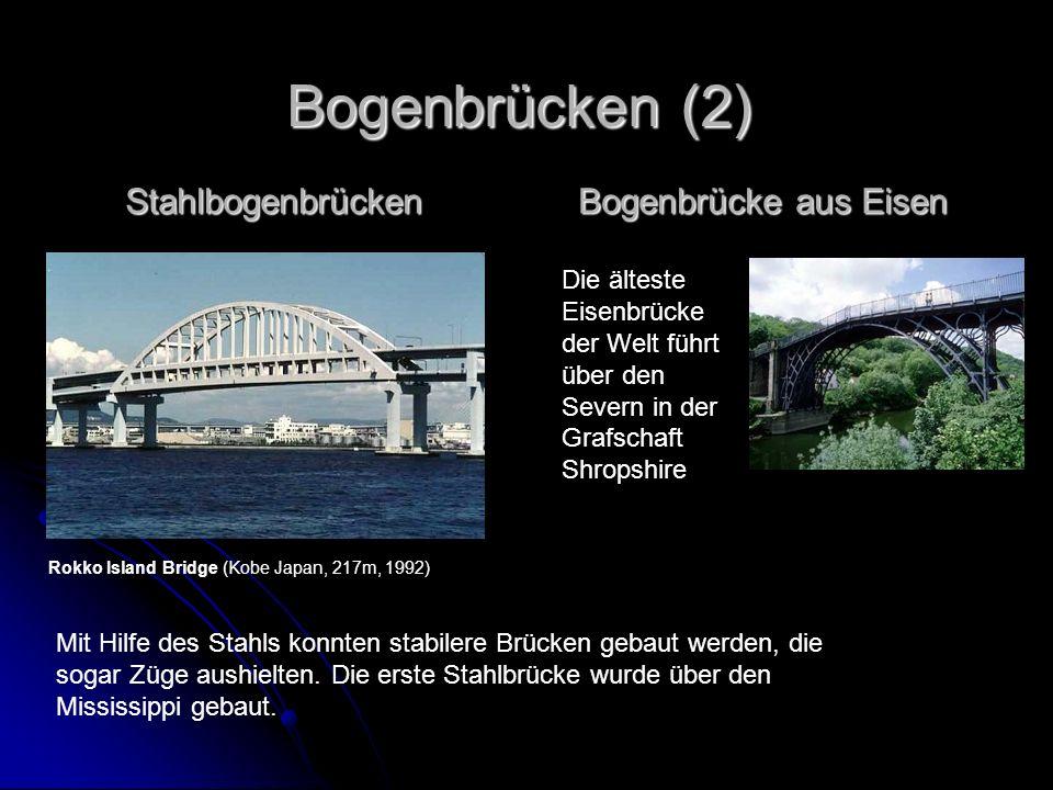 Stahlbogenbrücken Mit Hilfe des Stahls konnten stabilere Brücken gebaut werden, die sogar Züge aushielten. Die erste Stahlbrücke wurde über den Missis