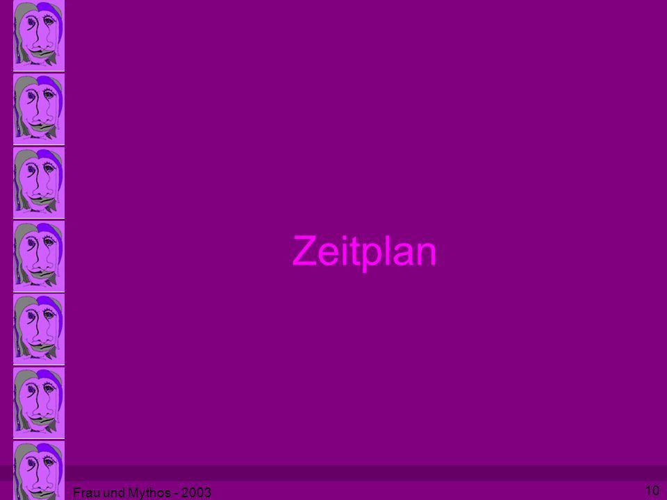Frau und Mythos - 2003 10 Zeitplan