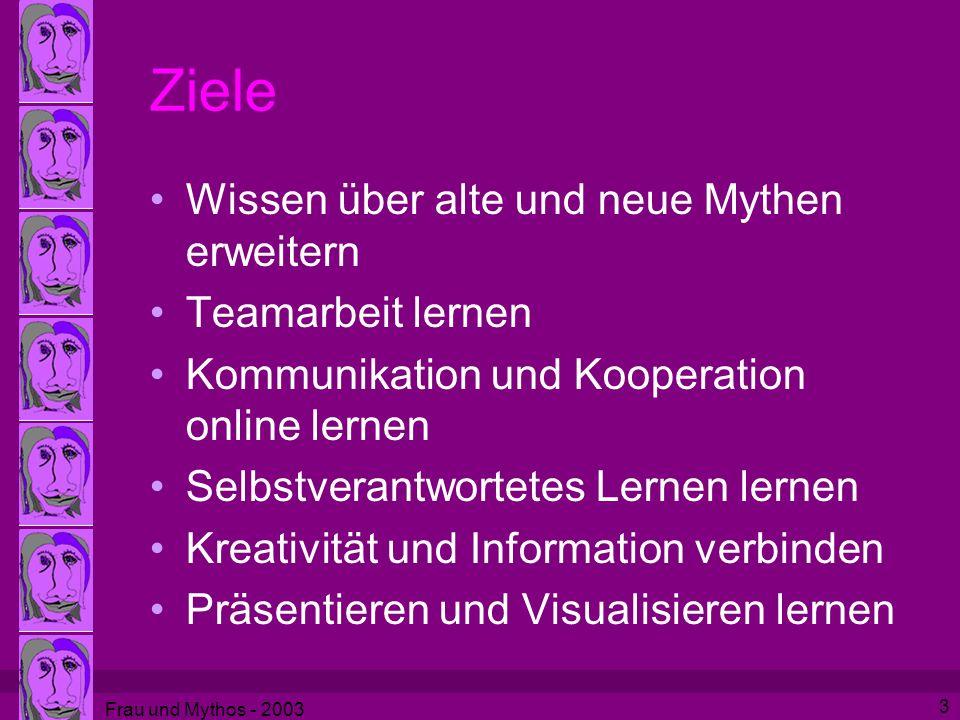 Frau und Mythos - 2003 3 Ziele Wissen über alte und neue Mythen erweitern Teamarbeit lernen Kommunikation und Kooperation online lernen Selbstverantwortetes Lernen lernen Kreativität und Information verbinden Präsentieren und Visualisieren lernen