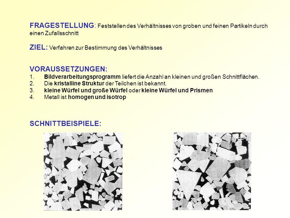 FRAGESTELLUNG: Feststellen des Verhältnisses von groben und feinen Partikeln durch einen Zufallsschnitt ZIEL: Verfahren zur Bestimmung des Verhältniss