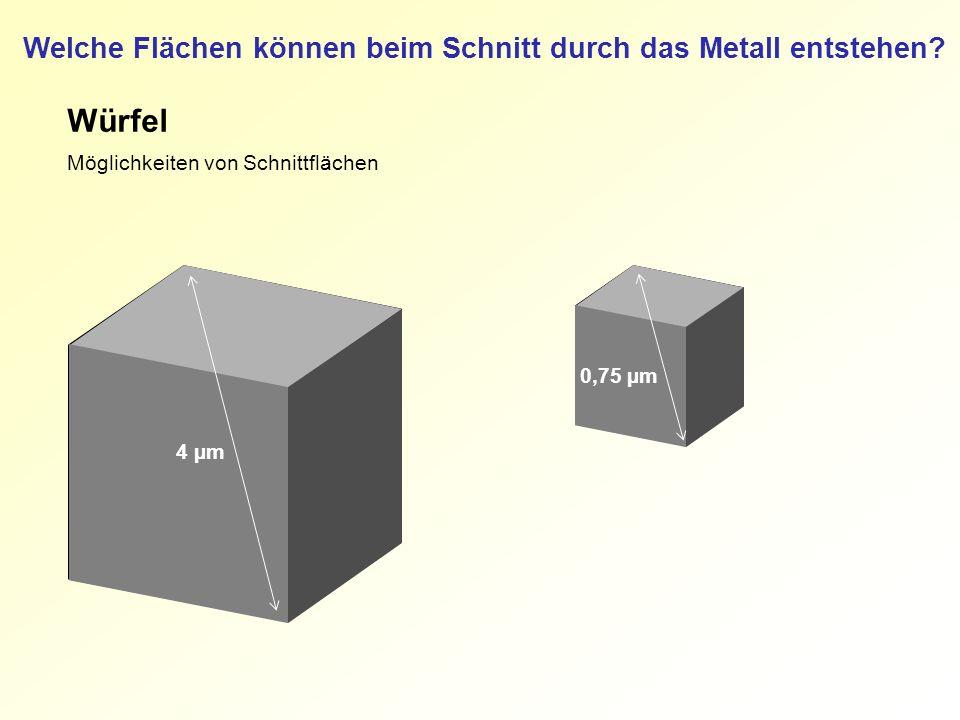 Würfel Möglichkeiten von Schnittflächen 4 µm 0,75 µm Welche Flächen können beim Schnitt durch das Metall entstehen?