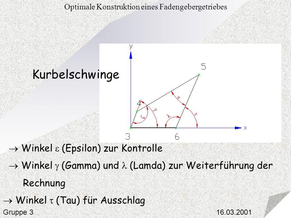 16.03.2001 Optimale Konstruktion eines Fadengebergetriebes Gruppe 3 Kurbelschwinge Winkel (Epsilon) zur Kontrolle Winkel (Gamma) und (Lamda) zur Weite