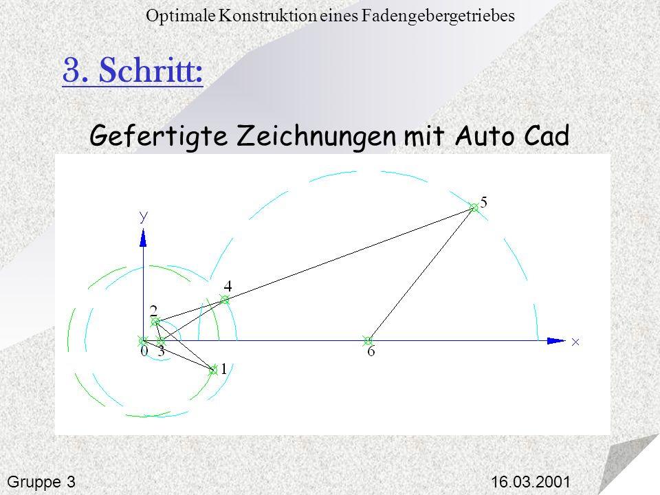 16.03.2001 Optimale Konstruktion eines Fadengebergetriebes Gruppe 3 3. Schritt: Gefertigte Zeichnungen mit Auto Cad