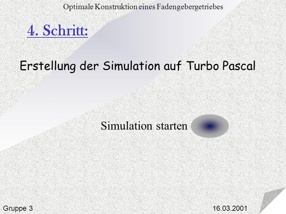 16.03.2001 Optimale Konstruktion eines Fadengebergetriebes Gruppe 3 4. Schritt: Erstellung der Simulation auf Turbo Pascal Simulation starten