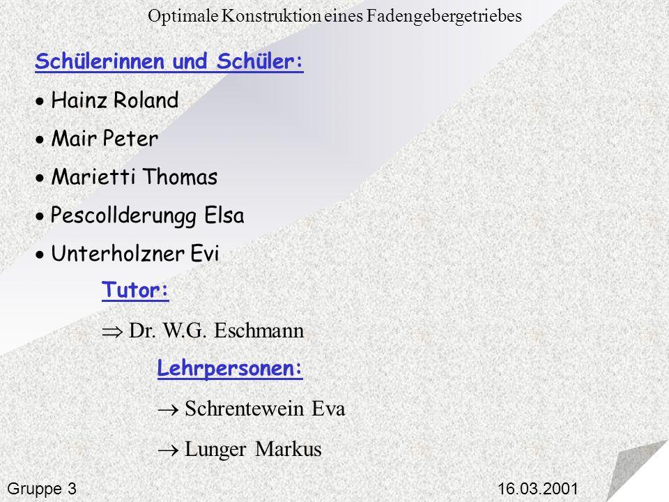 Optimale Konstruktion eines Fadengebergetriebes Gruppe 3 Schülerinnen und Schüler: Hainz Roland Mair Peter Marietti Thomas Pescollderungg Elsa Unterho