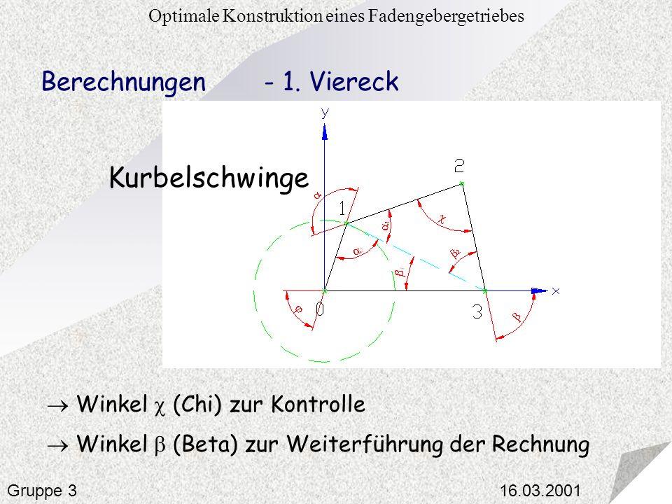 16.03.2001 Optimale Konstruktion eines Fadengebergetriebes Gruppe 3 Berechnungen - 1. Viereck Winkel (Chi) zur Kontrolle Winkel (Beta) zur Weiterführu