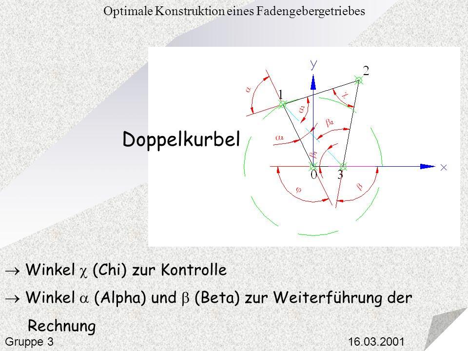 16.03.2001 Optimale Konstruktion eines Fadengebergetriebes Gruppe 3 Winkel (Chi) zur Kontrolle Winkel (Alpha) und (Beta) zur Weiterführung der Rechnun