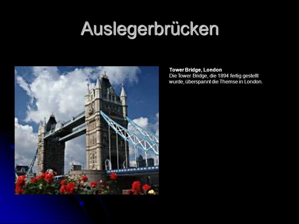 Auslegerbrücken Tower Bridge, London Die Tower Bridge, die 1894 fertig gestellt wurde, überspannt die Themse in London.