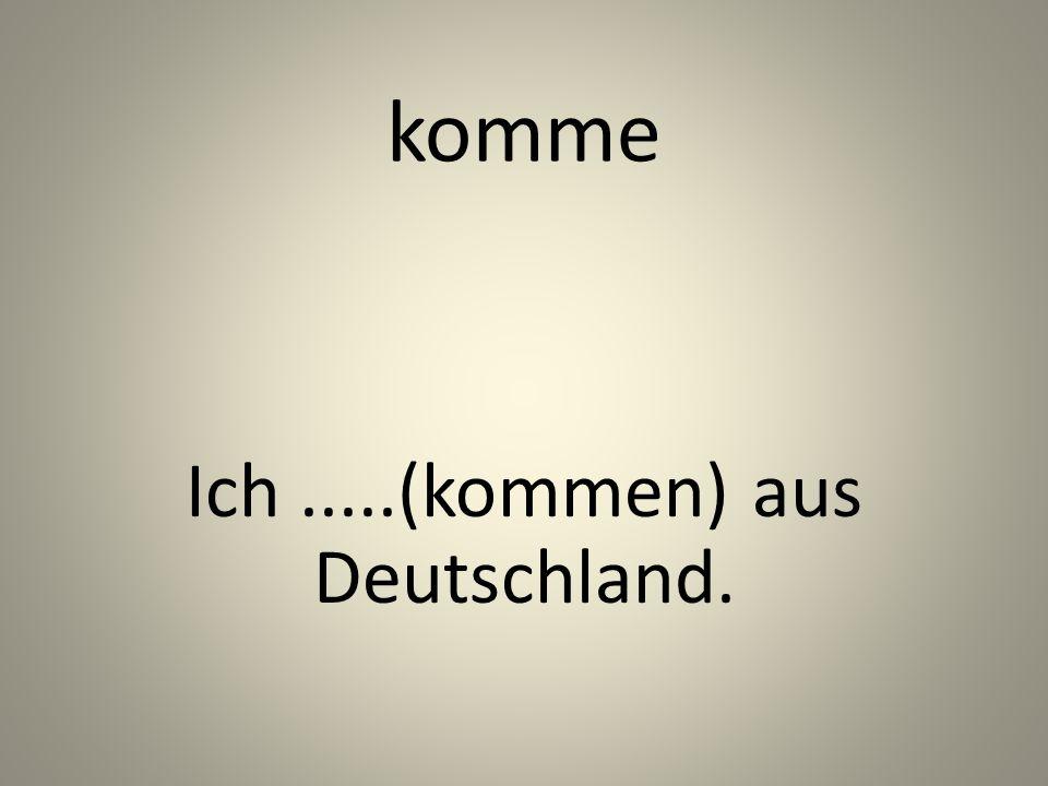 komme Ich.....(kommen) aus Deutschland.