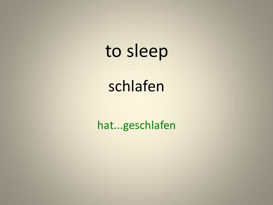 schlafen hat...geschlafen to sleep
