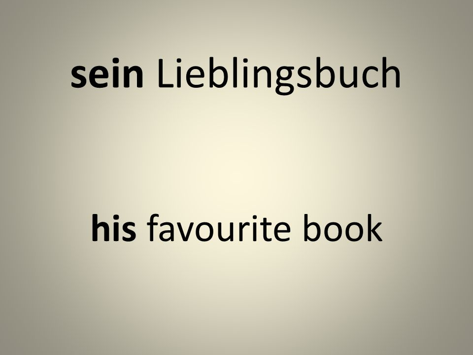 sein Lieblingsbuch his favourite book