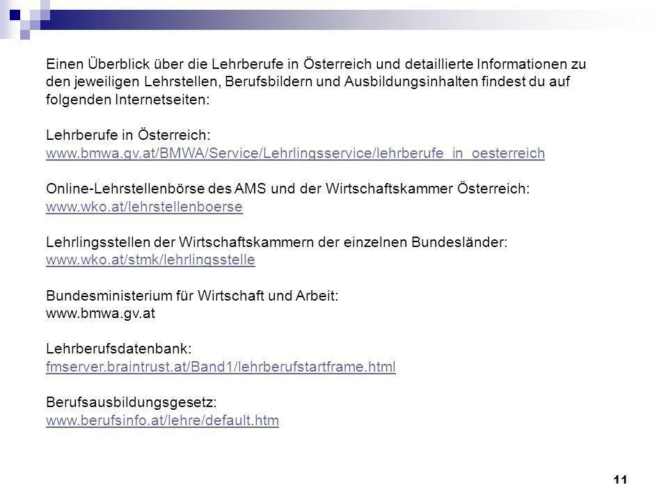 11 Einen Überblick über die Lehrberufe in Österreich und detaillierte Informationen zu den jeweiligen Lehrstellen, Berufsbildern und Ausbildungsinhalt