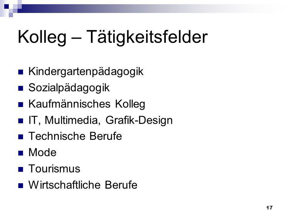 17 Kolleg – Tätigkeitsfelder Kindergartenpädagogik Sozialpädagogik Kaufmännisches Kolleg IT, Multimedia, Grafik-Design Technische Berufe Mode Tourismus Wirtschaftliche Berufe