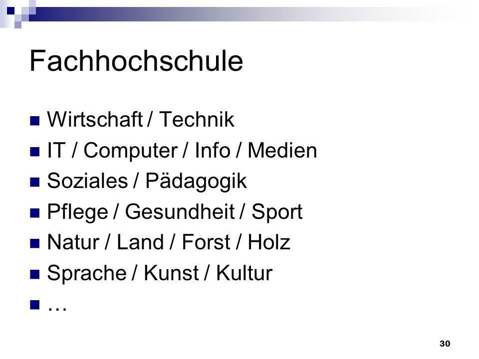 30 Fachhochschule Wirtschaft / Technik IT / Computer / Info / Medien Soziales / Pädagogik Pflege / Gesundheit / Sport Natur / Land / Forst / Holz Spra