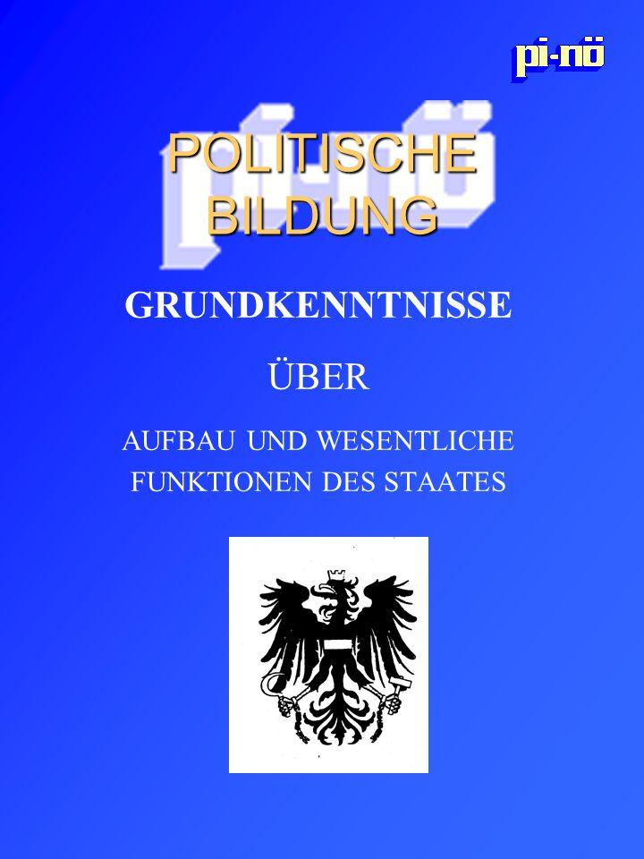POLITISCHE BILDUNG GRUNDKENNTNISSE ÜBER AUFBAU UND WESENTLICHE FUNKTIONEN DES STAATES