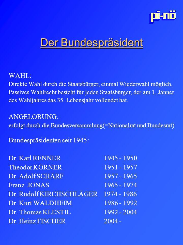 Der Bundespräsident WAHL: Direkte Wahl durch die Staatsbürger, einmal Wiederwahl möglich. Passives Wahlrecht besteht für jeden Staatsbürger, der am 1.