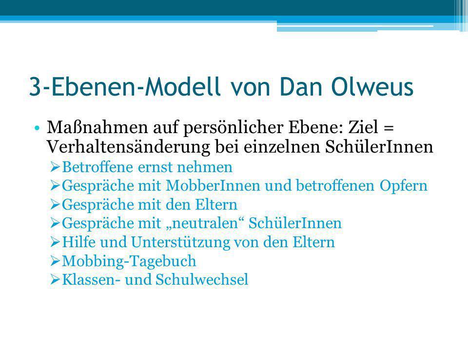 3-Ebenen-Modell von Dan Olweus Maßnahmen auf persönlicher Ebene: Ziel = Verhaltensänderung bei einzelnen SchülerInnen Betroffene ernst nehmen Gespräch