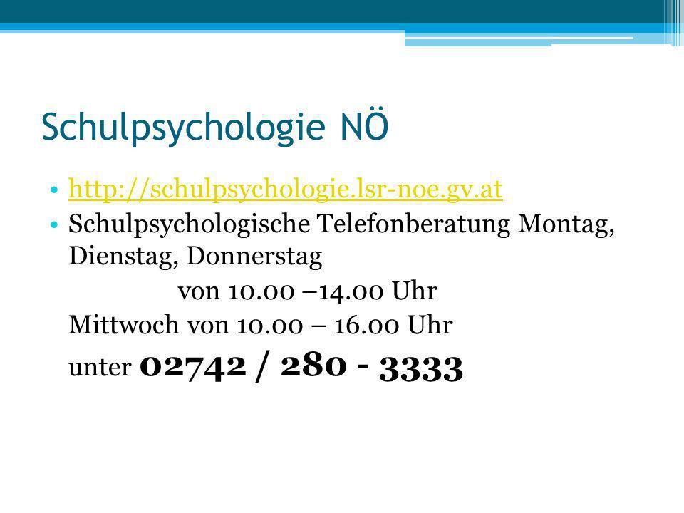 Schulpsychologie NÖ http://schulpsychologie.lsr-noe.gv.at Schulpsychologische Telefonberatung Montag, Dienstag, Donnerstag von 10.00 –14.00 Uhr Mittwo