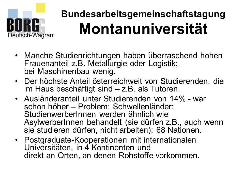 Bundesarbeitsgemeinschaftstagung Montanuniversität Manche Studienrichtungen haben überraschend hohen Frauenanteil z.B. Metallurgie oder Logistik; bei