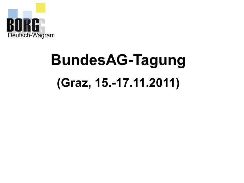 Bundesarbeitsgemeinschaftstagung (Graz am 15.-17.11.2011) Schülerberatung – Berufsorientierung RS 17/2009 wird möglicherweise mit kleinen Änderungen neu verlautbart.