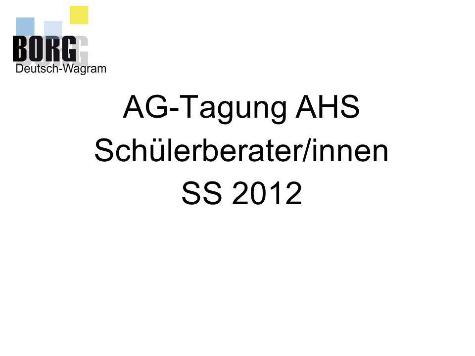 AG-Tagung AHS Schülerberater/innen SS 2012