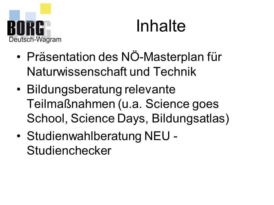 Inhalte Präsentation des NÖ-Masterplan für Naturwissenschaft und Technik Bildungsberatung relevante Teilmaßnahmen (u.a. Science goes School, Science D